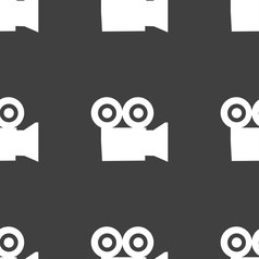 Video camera icon sign seamless pattern on a gray vector