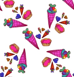 Seamless pattern with sweets-4 vector