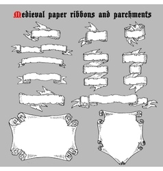 Ribbons and parchments in medieval engraving style vector