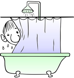 Taking shower man vector