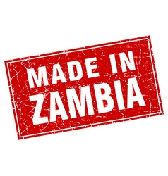 Zambia red square grunge made in stamp vector