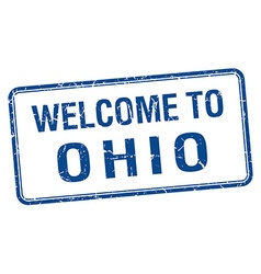 Welcome to ohio blue grunge square stamp vector