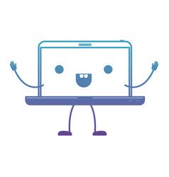 Animated kawaii laptop computer in degraded blue vector