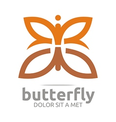 Butterfly leaf brown insect spring symbol vector