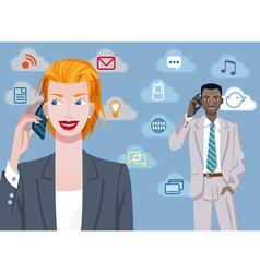 Caucasian Businesswoman And Black Businessman vector image vector image