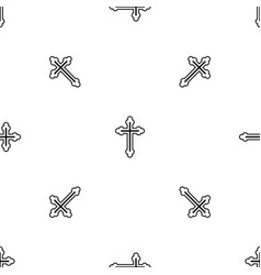 Crucifix pattern seamless black vector