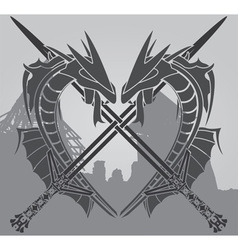 dragons and swords vector image vector image