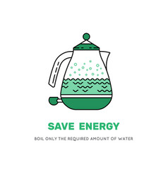 Electric kettle save electricity icon vector