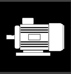 Electric motor white color icon vector