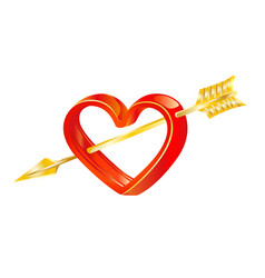 Golden arrow of love in heart vector