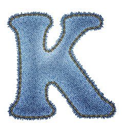 Jeans alphabet denim letter k vector