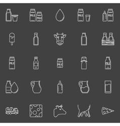 Milk line icons vector