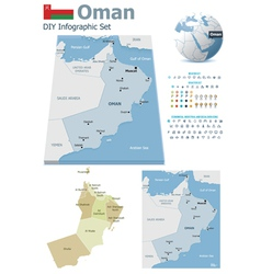 Oman maps with markers vector image