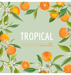 Orange flowers and leaves exotic graphic tropical vector