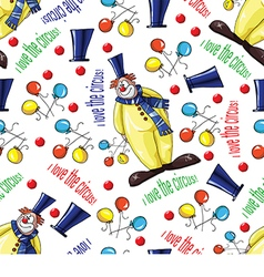 Pattern with clowns and balloons vector