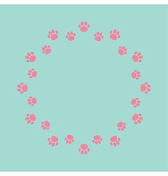 Paw print round abstract frame empty template vector
