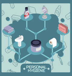 personal hygiene color isometric concept icons vector image vector image