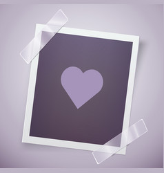 Retro photo frame with heart romantic concept vector