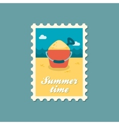Sand bucket and shovel flat stamp summertime vector