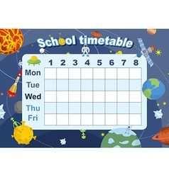 Schedule school timetable on theme of space and vector image vector image