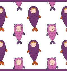 Seamless pattern with magic cute fish girl and vector