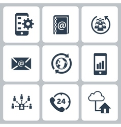 Set of communication contact us icons vector
