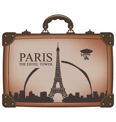 suitcase paris vector image vector image