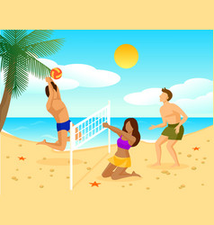 Summer holiday flat concept vector