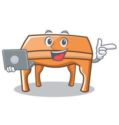 with laptop table character cartoon style vector image