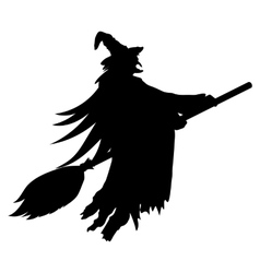 Scary witch flying vector