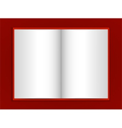 Blank book on red background vector