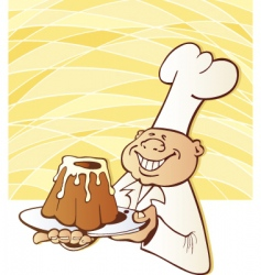 Chef with yummy cake vector