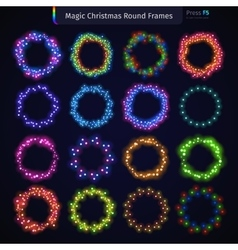 Magic christmas round frames set vector