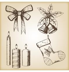 Christmas hand drawn - bow vector image
