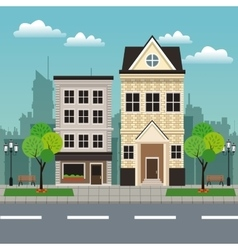 house building residential urban streetscape vector image