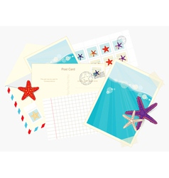 Photos postcards envelopes and starfish stickers vector image