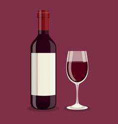 flat bottle and a glass of wine vector image