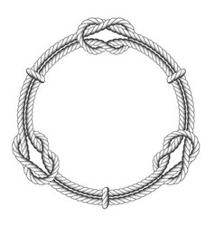 twisted rope circle - round frame with knots vector image