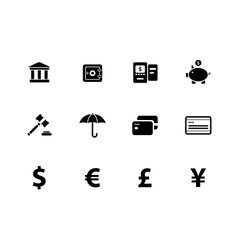 Banking icons on white background vector