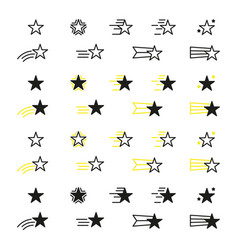collection of star icons black linear icons isolat vector image
