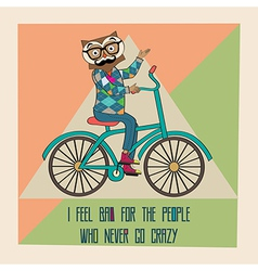 Hipster poster with nerd owl riding bike vector