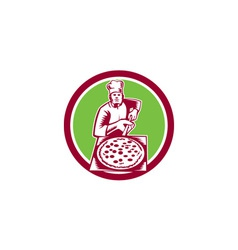 Pizza maker holding pizza peel circle woodcut vector