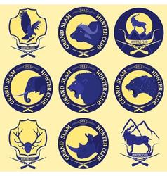 Hunting club label collecton Grand safari logos vector image