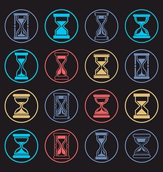Stylized sand-glass set of antique classic hourgl vector