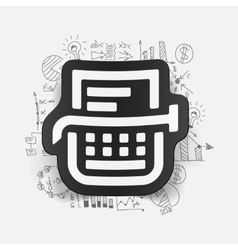 Drawing business formulas typewriter vector