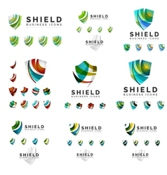 Set of company logotype branding designs shield vector