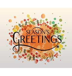 Hand sketched seasons greetings watercolor vector