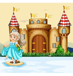 Cute princess at the palace vector