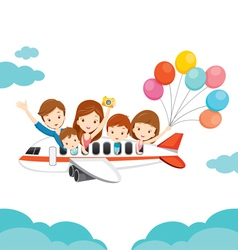 Family happy on airplane vector