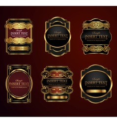 Decorative ornate label collection vector